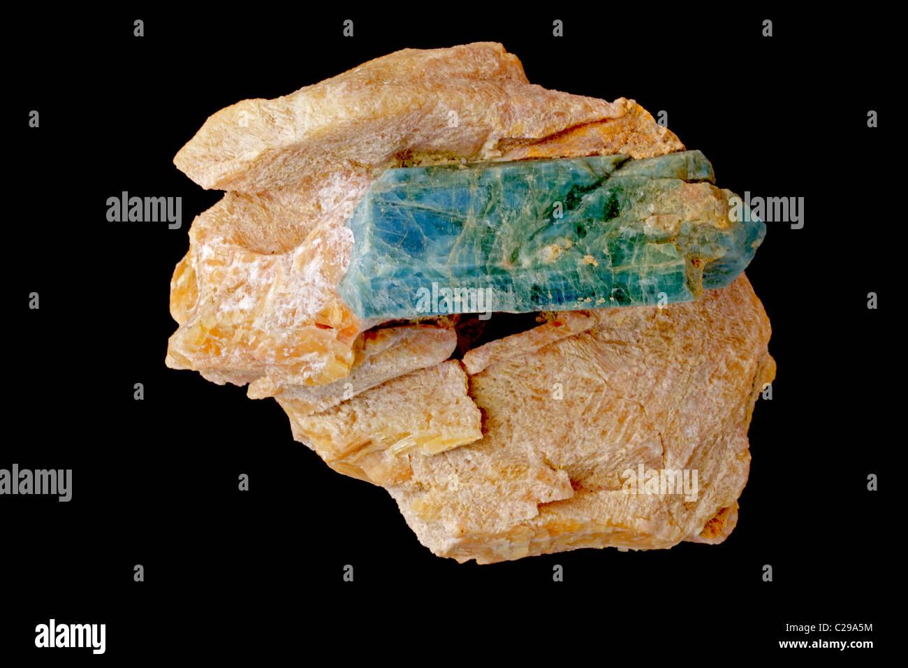 Apatite (Fluorapatite) - Ca5(PO4)3F - Slyudyanka - Baikal region - Siberia - Russia - Used producing phosphate fertilizers - Stock Image