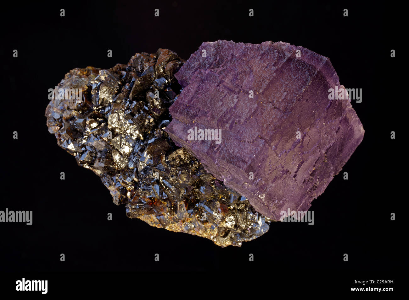 Fluorite (CaF2) (calcium fluoride) on Sphalerite (ZnS) (zinc sulfide) - Elmwood Mine - Smith County - Tennessee - Stock Image