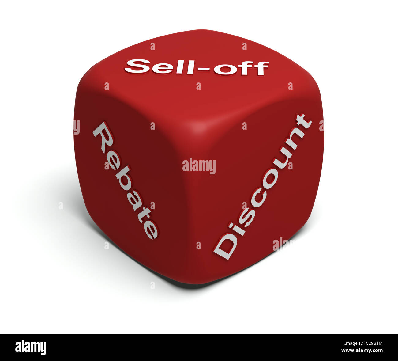 Red Dice with words Rebate, Discount, Sell-off on faces - Stock Image