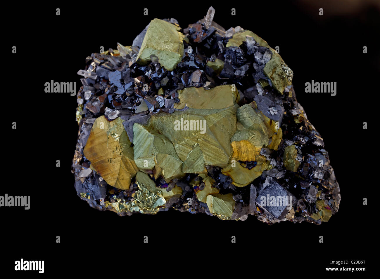 Chalcopyrite (Golden) with galena and sphalerite - The major ore of copper - Very important economic mineral - Stock Image