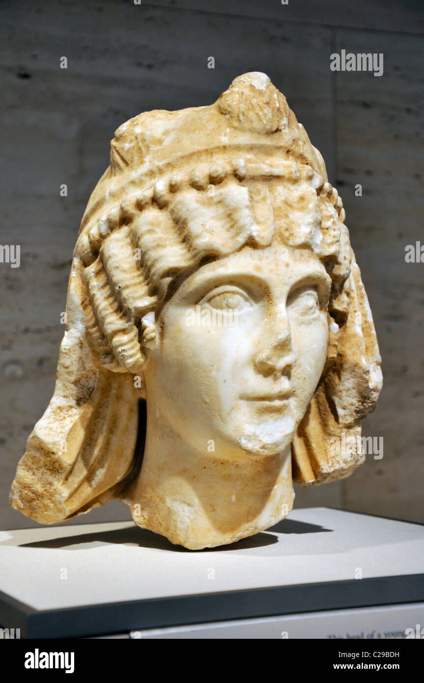 Ancient sculpture of Priestess of the Imperial Cult, Roman A.D. 170–80, Marble; Kimbell Art Museum, Fort Worth, - Stock Image