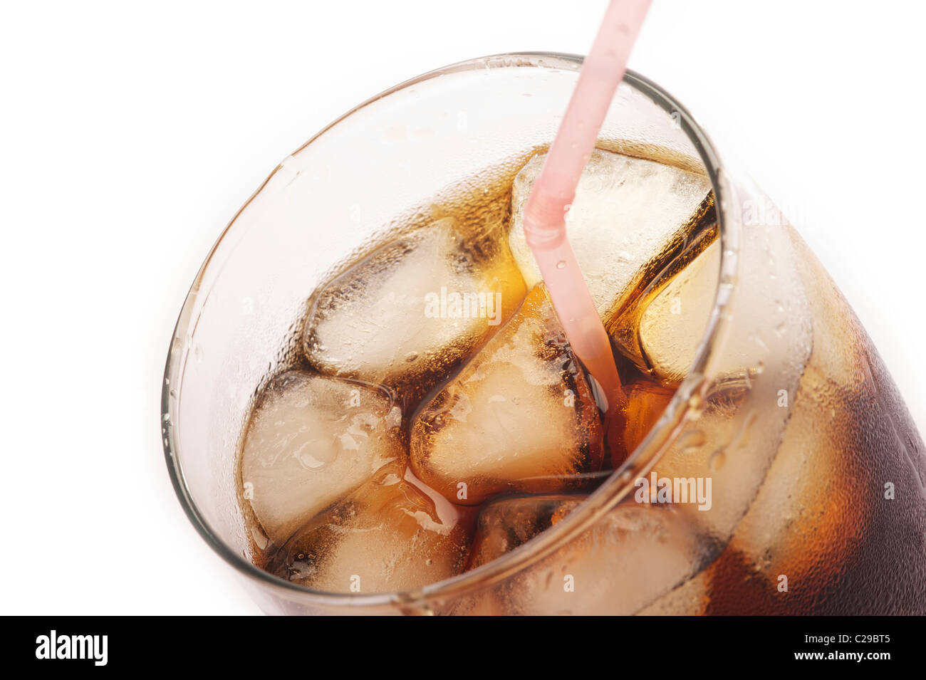 A glass of coca cola, close up view - Stock Image