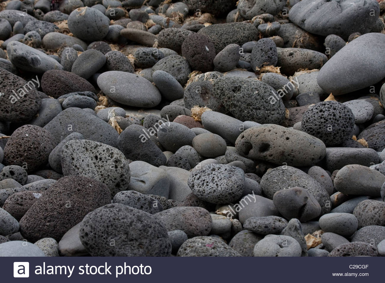 Volcanic rocks on the shore of Inaccessible Island. - Stock Image