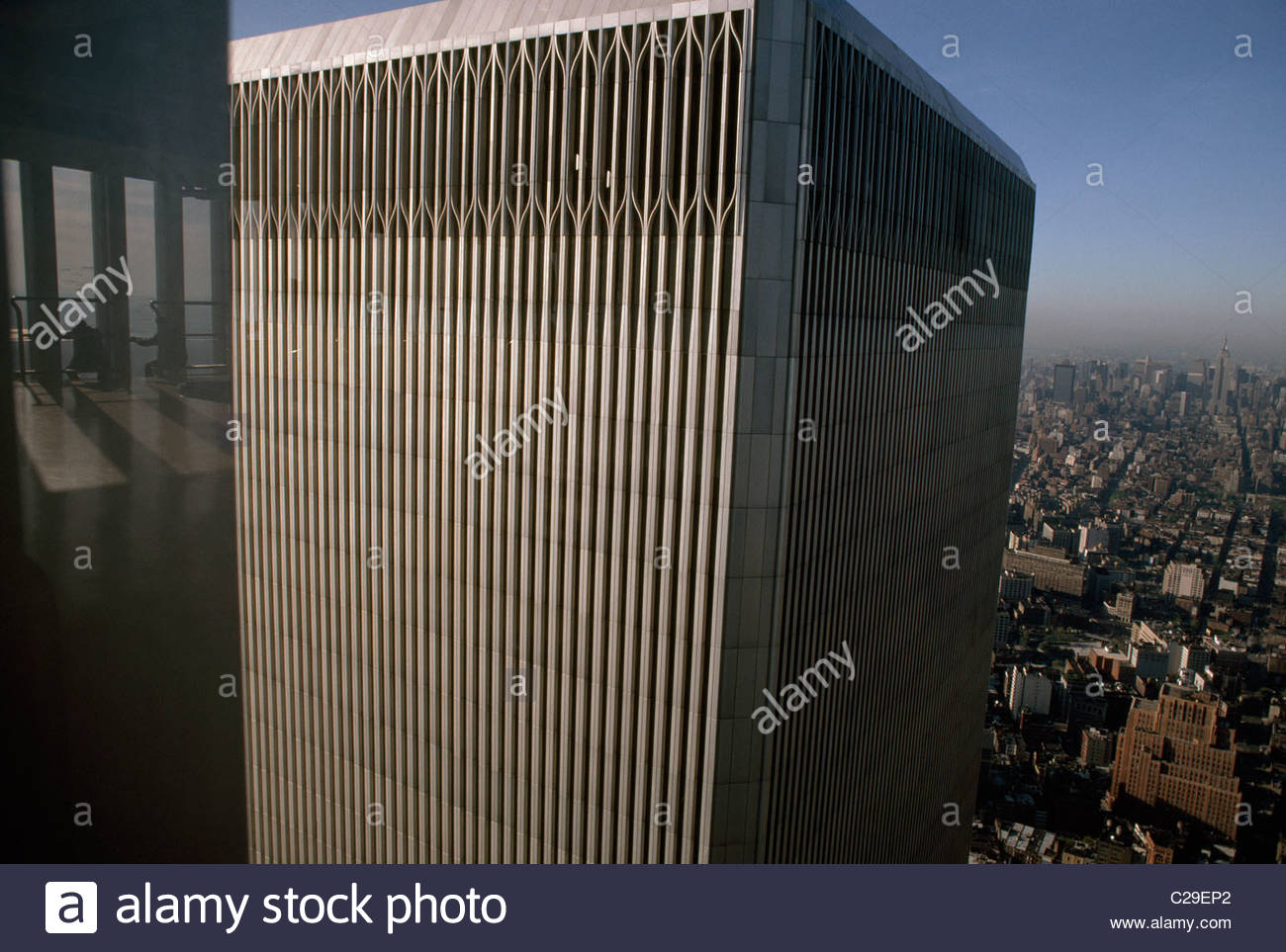 The top of one of the World Trade Center towers. - Stock Image