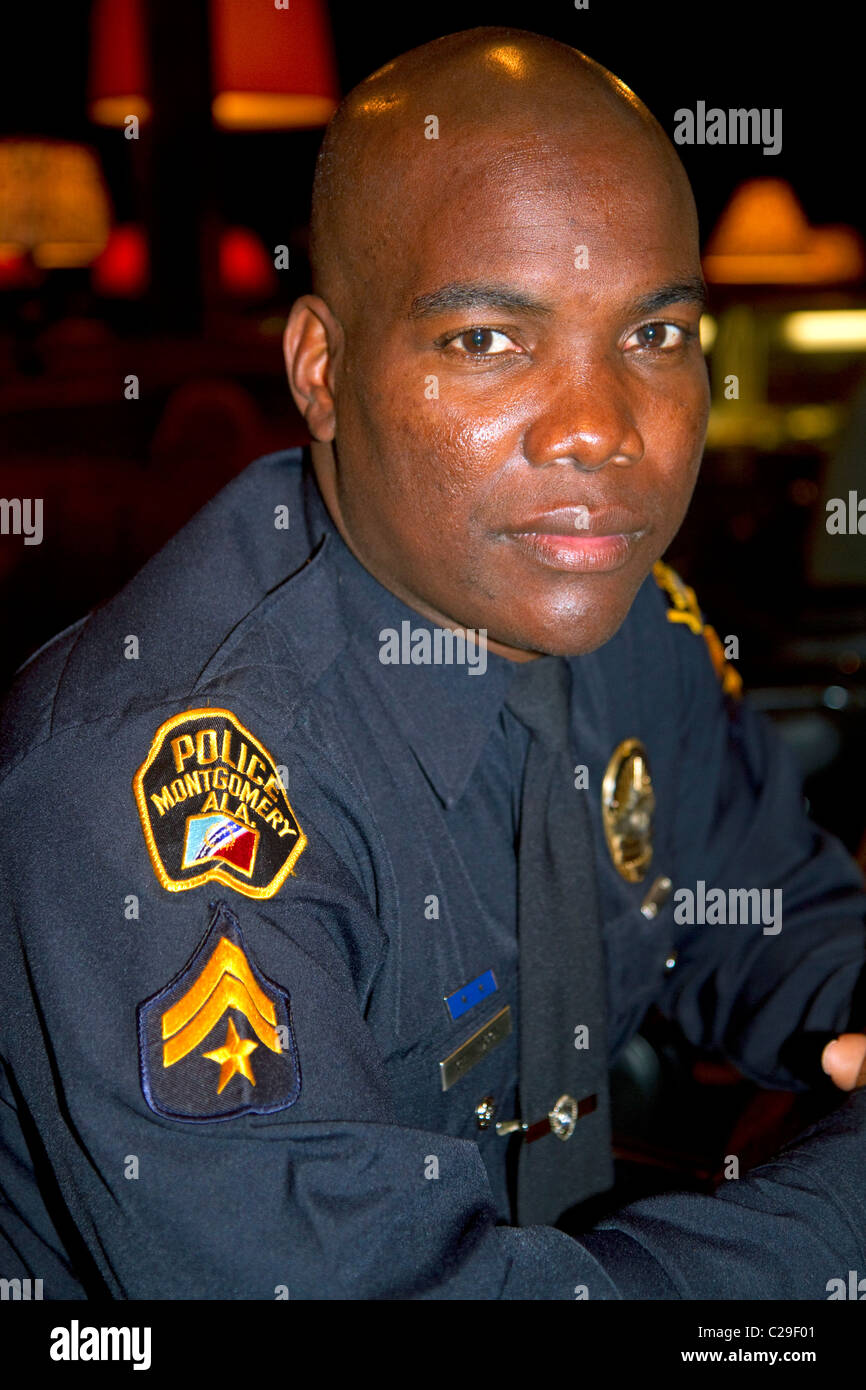 African american police officer in Montgomery, Alabama, USA. - Stock Image