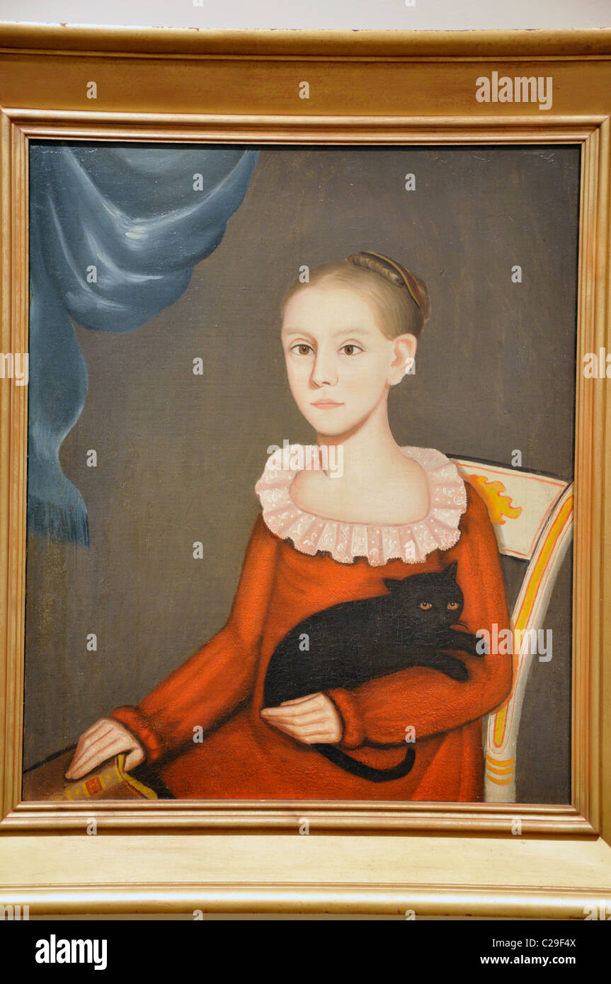 Girl with Cat by Ammi Phillips, 1814 - Stock Image