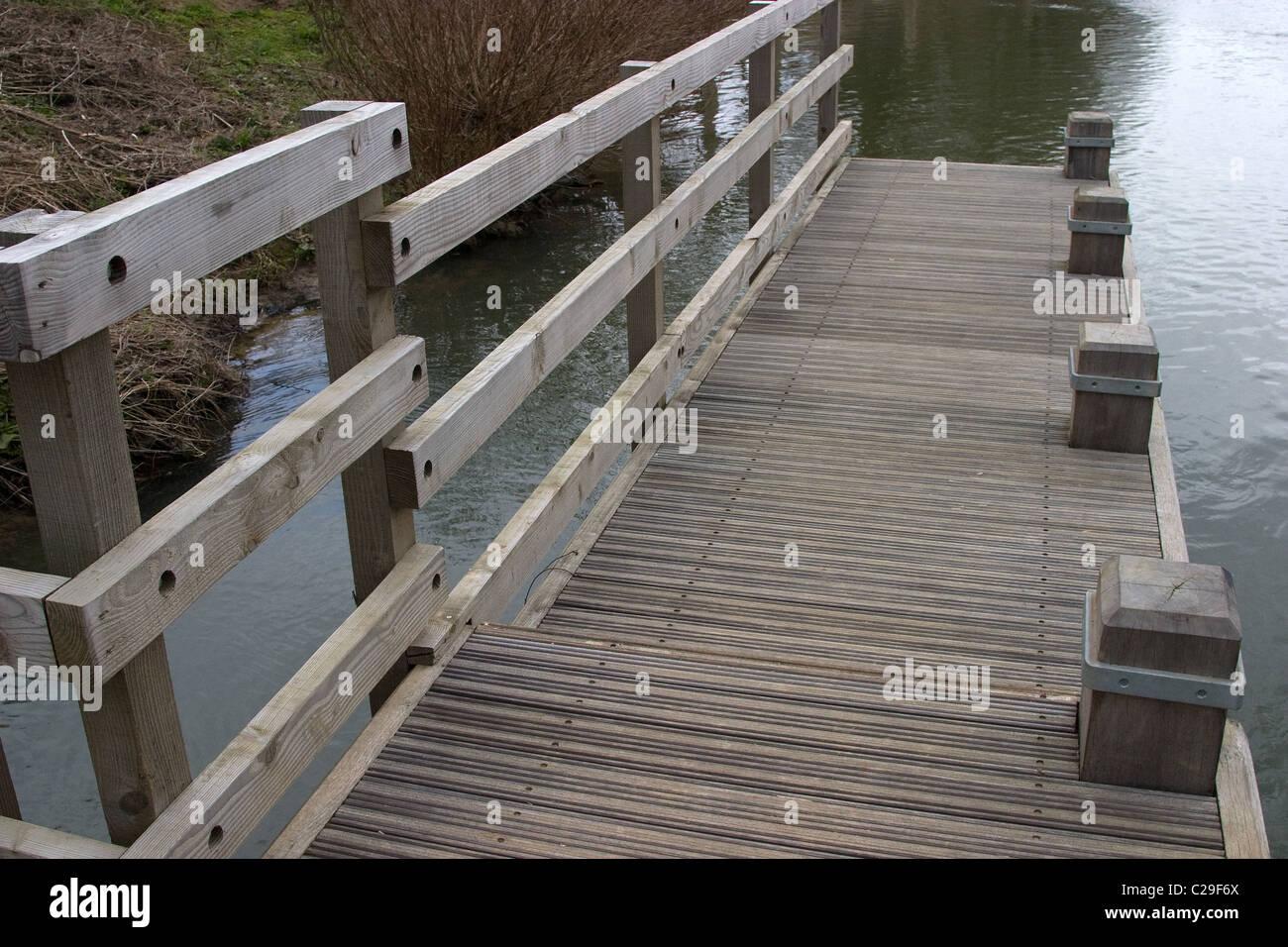 hidden concealed step wood decking canoe portege - Stock Image