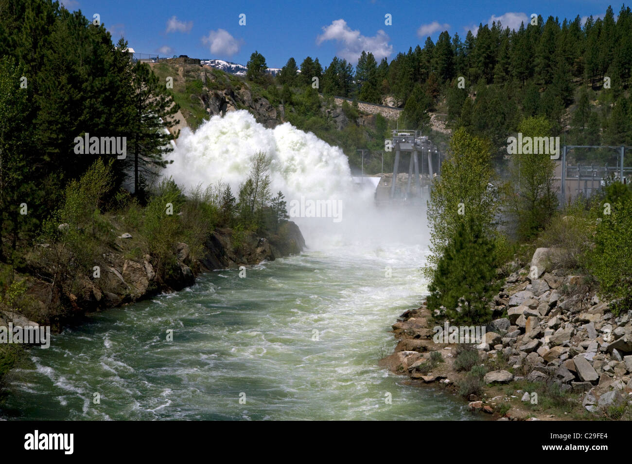 High water during spring runoff at Cascade Dam and the North Fork of the Payette River, Idaho, USA. - Stock Image
