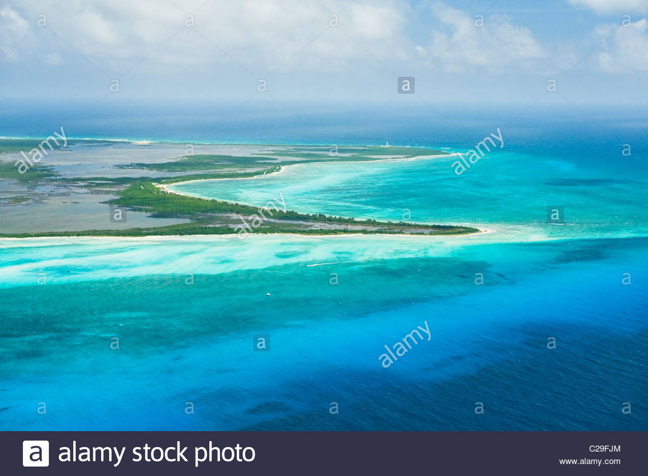 Aerial view of Punta Sur and Punta Celarain on the south coast of Cozumel, Mexico. - Stock Image