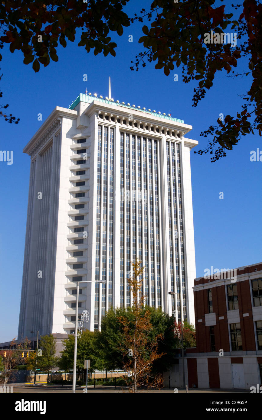 The RSA Tower located in downtown Montgomery, Alabama, USA. - Stock Image