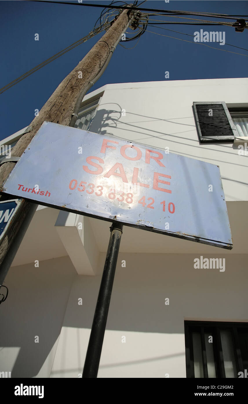 House for sale sign, Kyrenia, Turkish Republic of Northern Cyprus - Stock Image