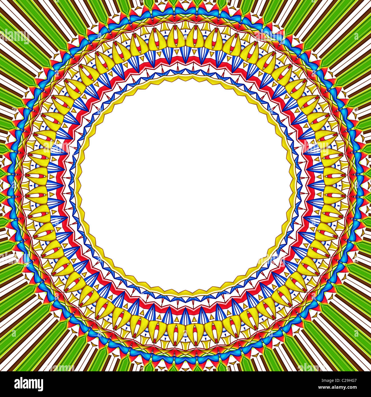 mandala sun round frame - Stock Image
