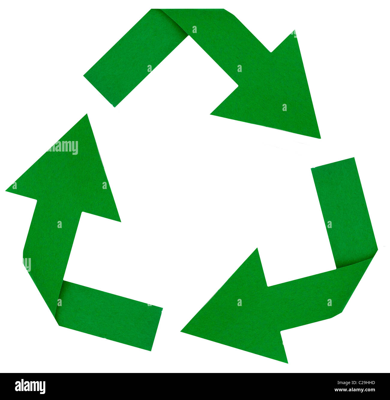 Photo of a green reduce, reuse, renew, recycle symbol - Stock Image