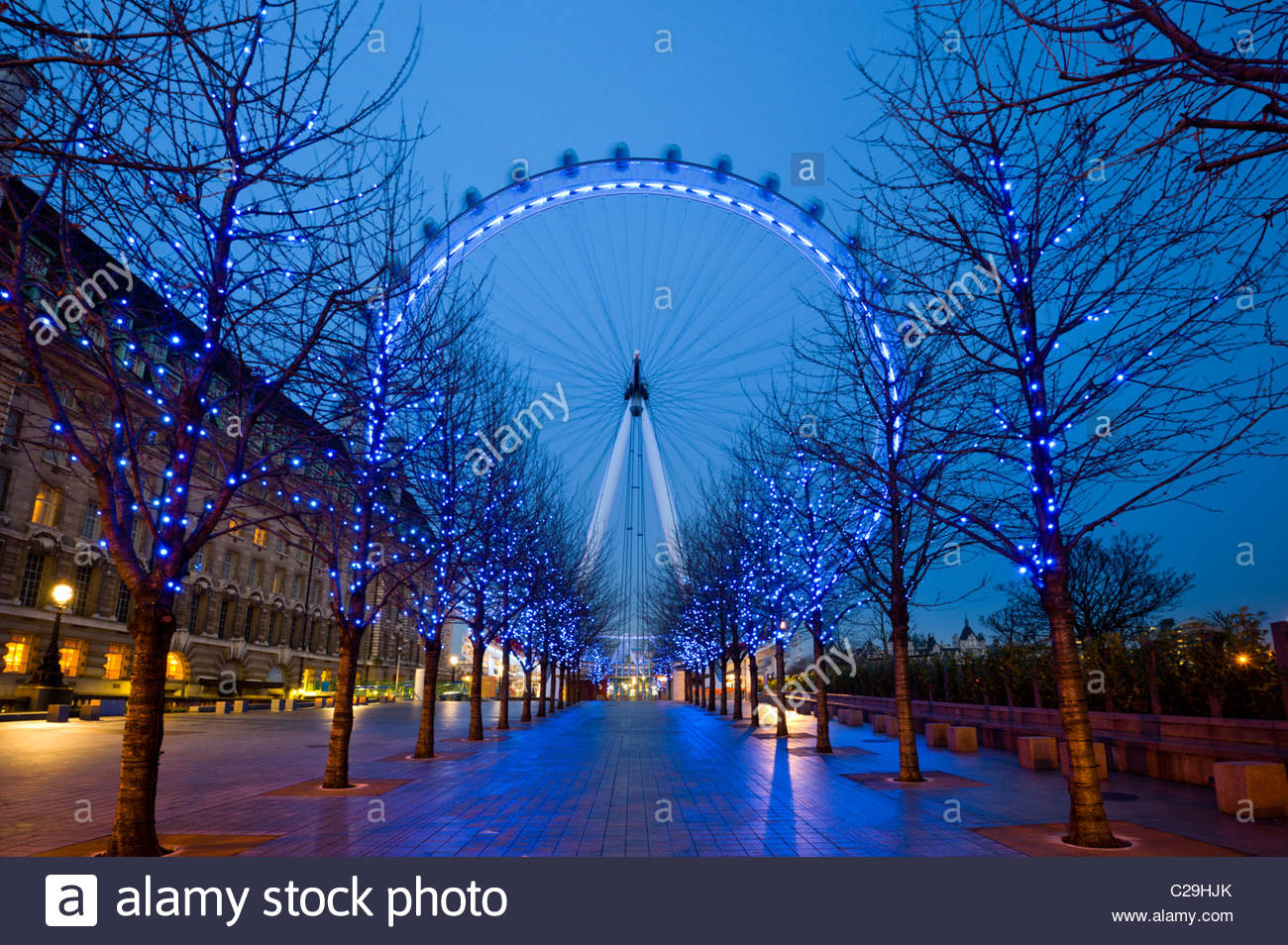 Night view of the London Eye in winter, South Bank, London, UK. - Stock Image