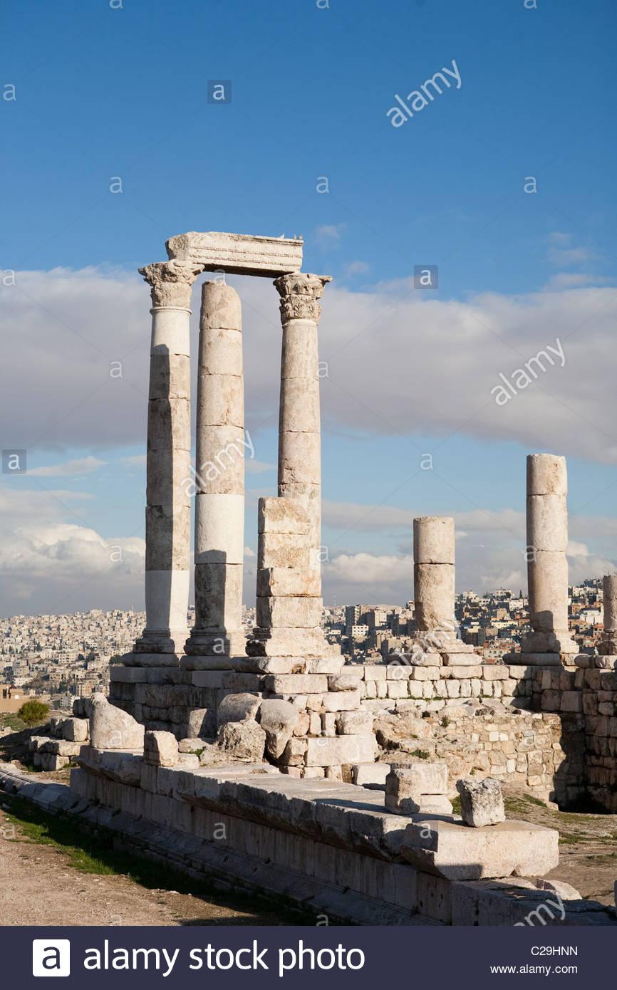 The ruins of the ancient Citadel, or Jebel al-Qal'a. Stock Photo