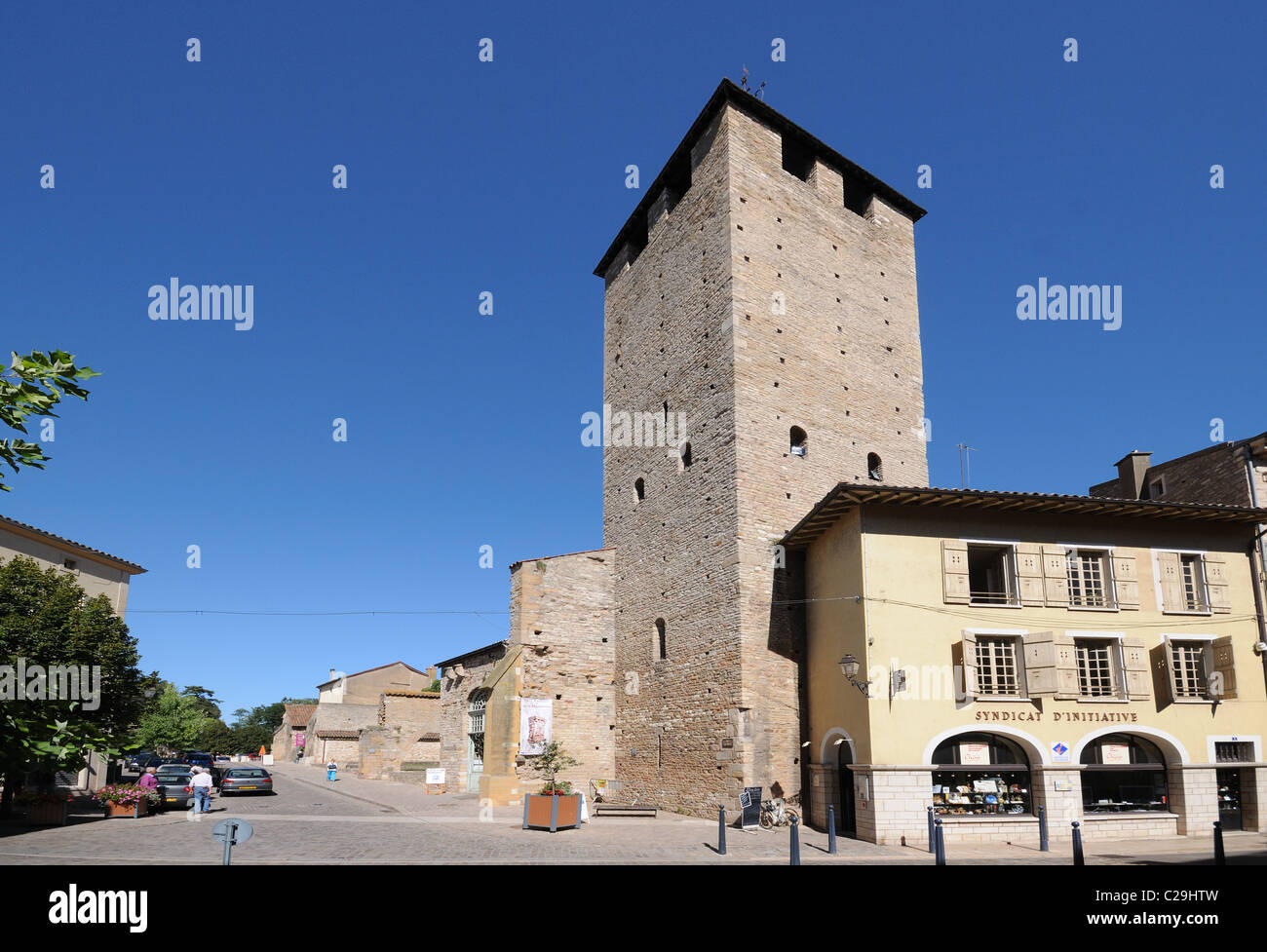 Tower of Cheese or Tour de Fromage with Tourism Office Cluny Burgundy France Bourgogne Syndicat d'Initiative - Stock Image