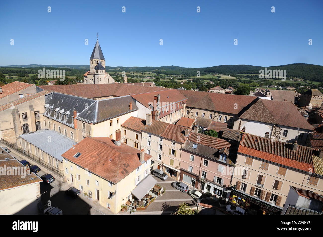 Cluny Abbey seen from Tower of Cheese or Tour de Fromage Cluny Burgundy France Bourgogne - Stock Image