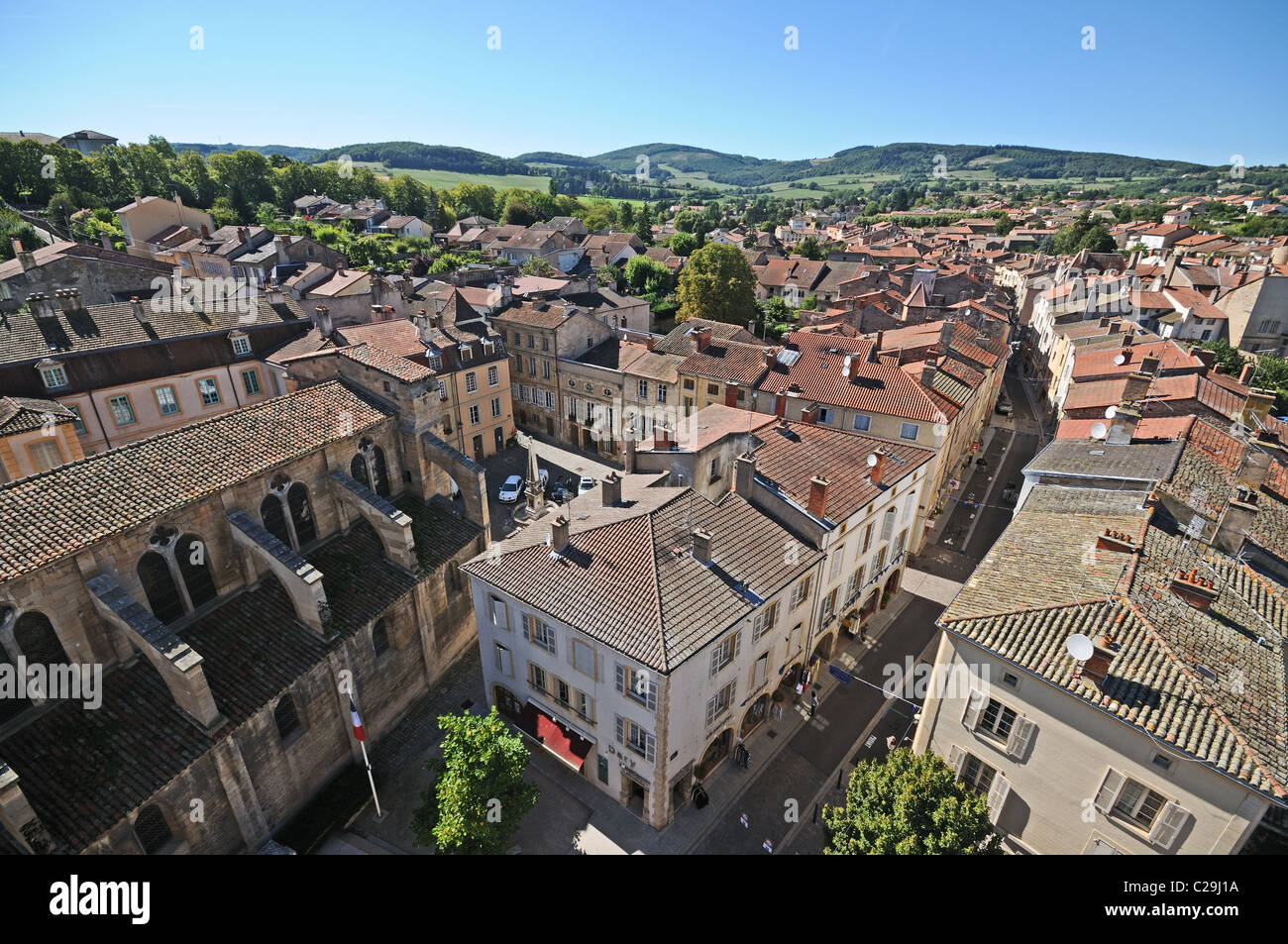 Roofs of town of Cluny seen from Tower of Cheese or Tour de Fromage Cluny Burgundy France Bourgogne - Stock Image