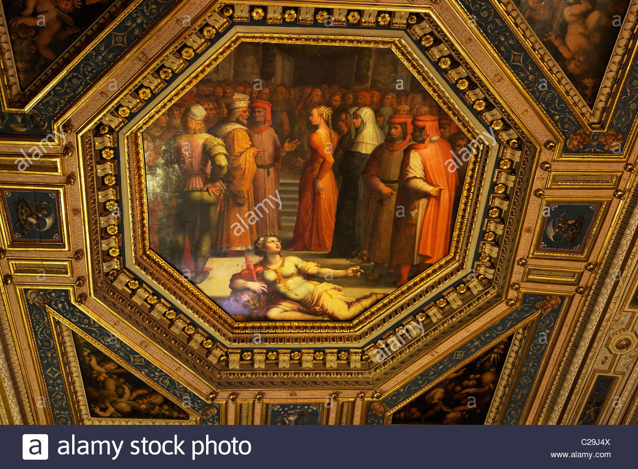 Ceiling panel in the Palazzo Vecchio laminated with pure gold. - Stock Image