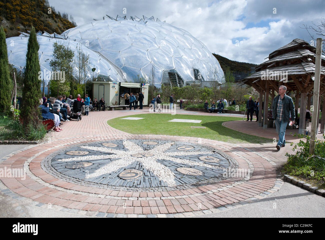 A Mosaic design in an eating area outside of the Eden Project tourist attraction & ecology centre, Bodelva, - Stock Image