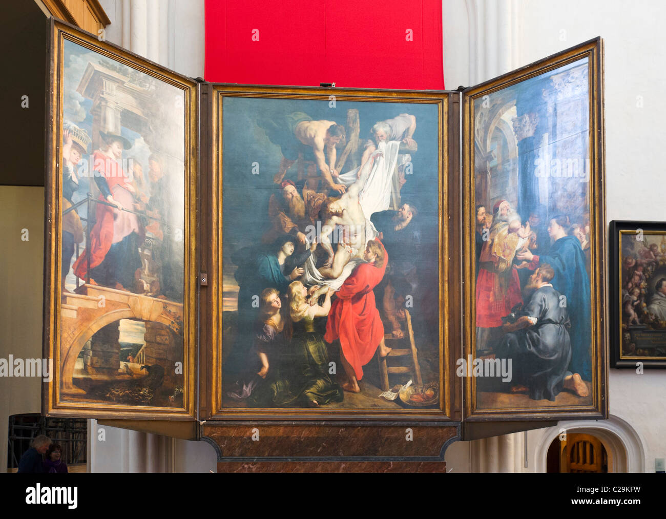 The Descent from the Cross by Peter Paul Rubens, Onze Lieve Vrouwekathedraal (Cathedral of Our Lady), Antwerp, Belgium - Stock Image
