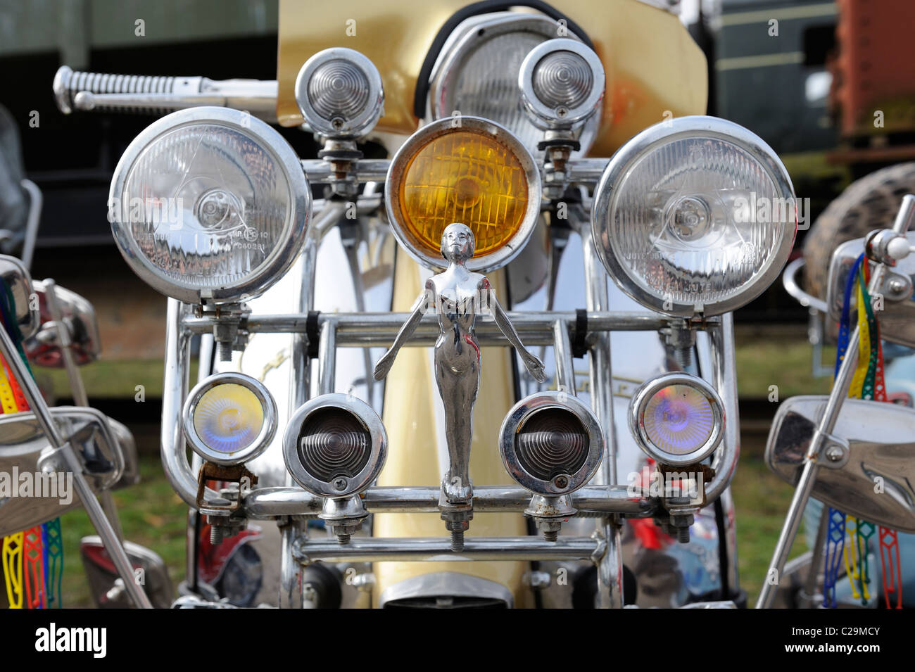 lambretta scooter headlamps england uk - Stock Image