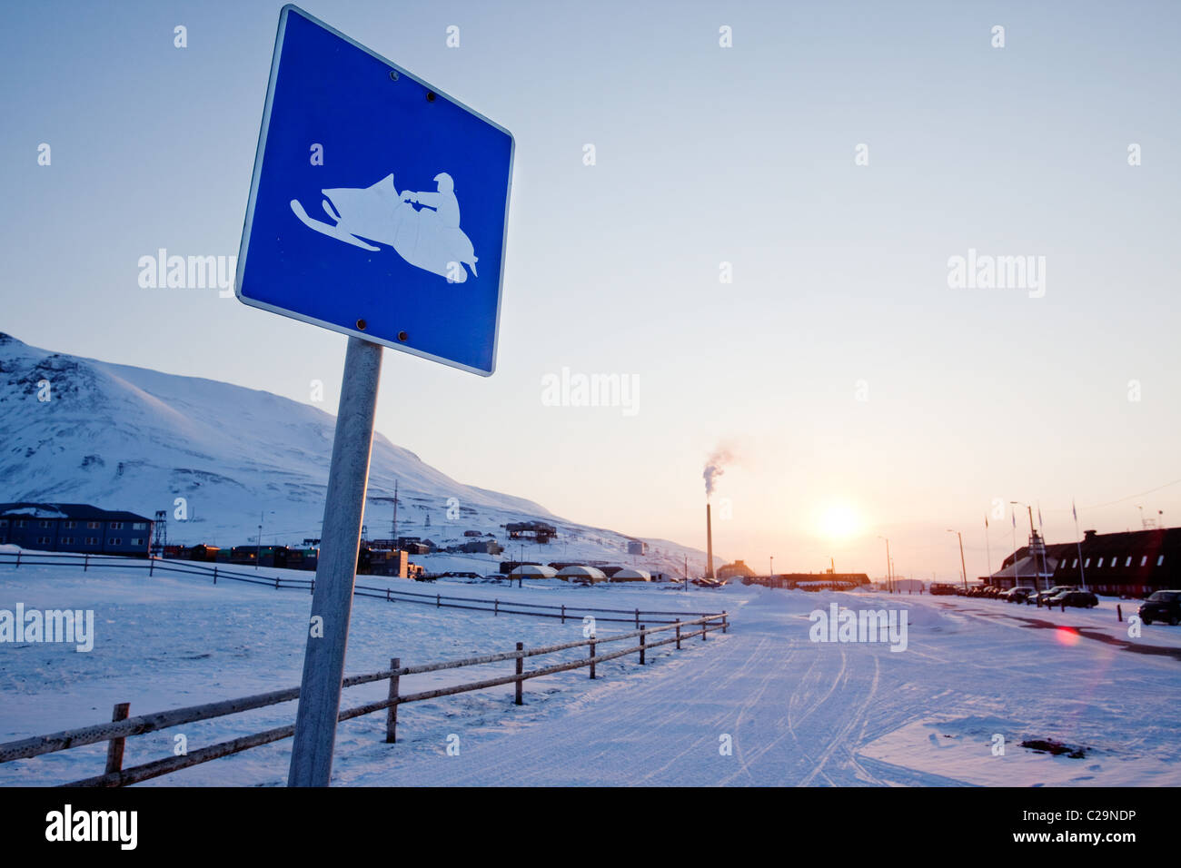 A snowmobile sign in Longyearbyen, Svalbard, Norway - Stock Image