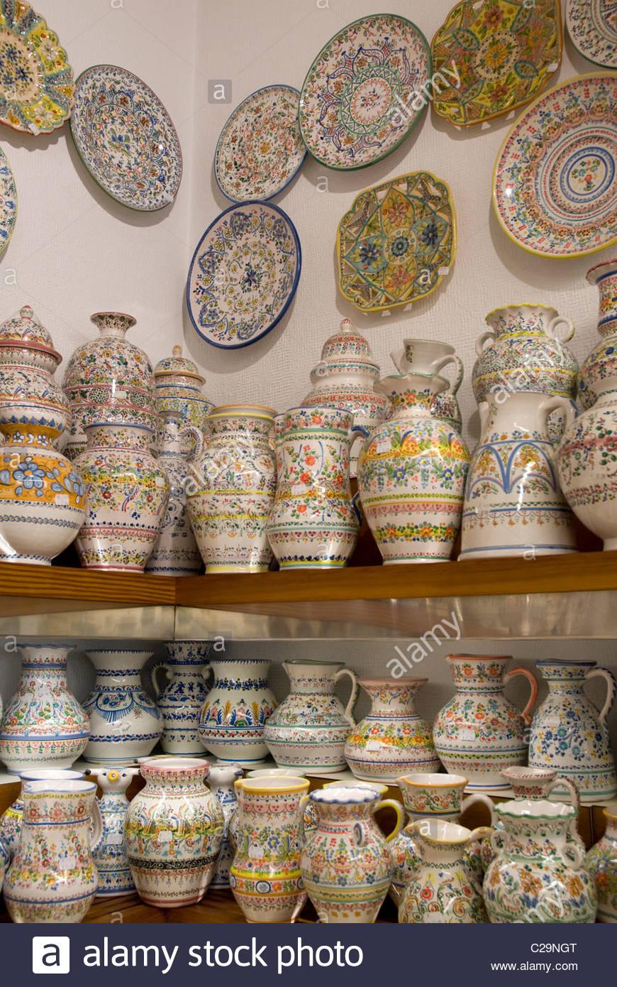Ceramics display at Martian Ceramica Sevilla on Calle Sierpes. - Stock Image
