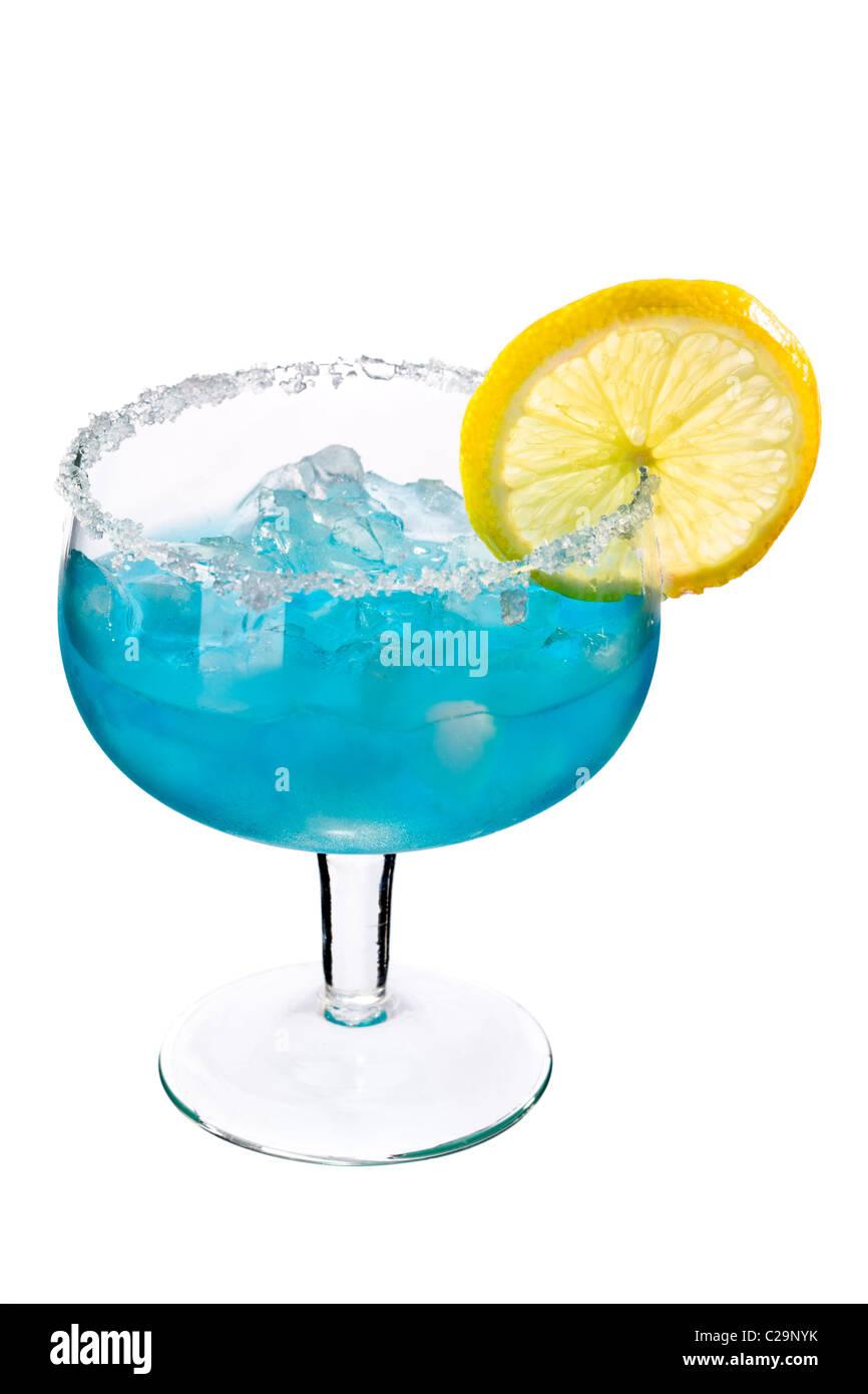 Cocktails on white: Blue Margarita. - Stock Image