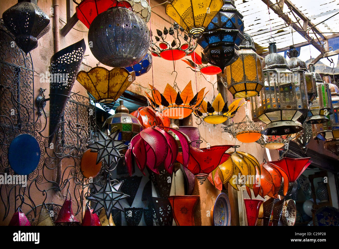 Lamps outside a shop in the souk in Marrakech, Morocco, North Africa Stock Photo
