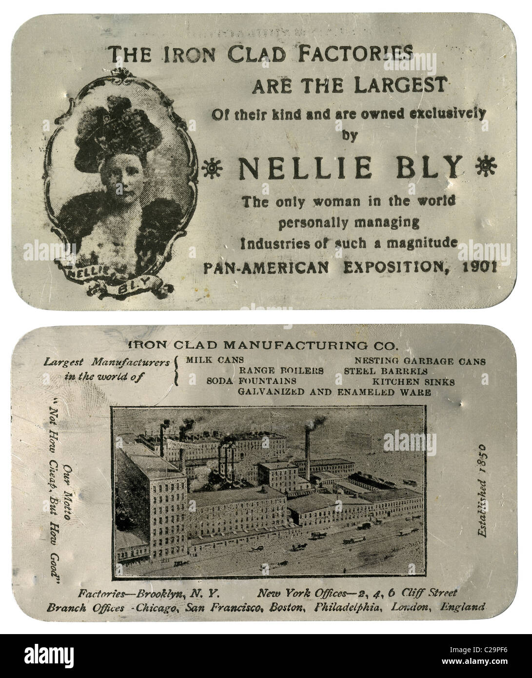 Nellie Bly trade card, printed on aluminum, from the 1901 Pan-American Exposition. For a time she was one of the - Stock Image