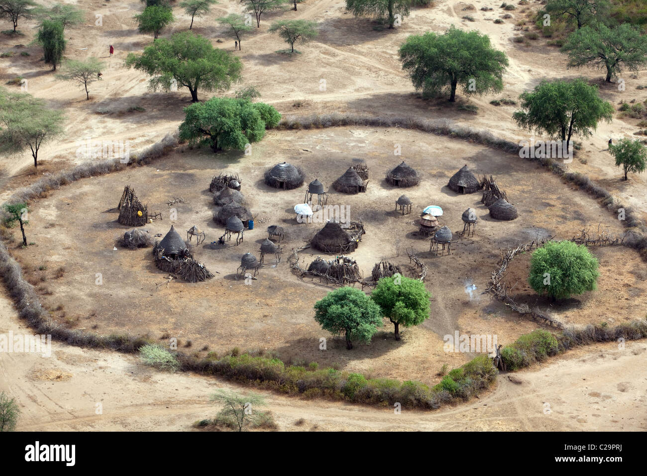 Aerial view of Riwoto, Eastern Equatoria, South Sudan. - Stock Image