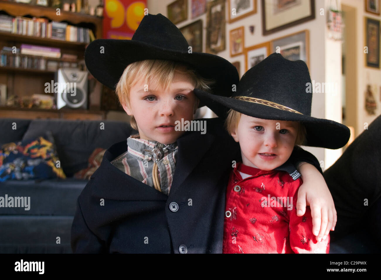 2 brothers playing and having fun. - Stock Image