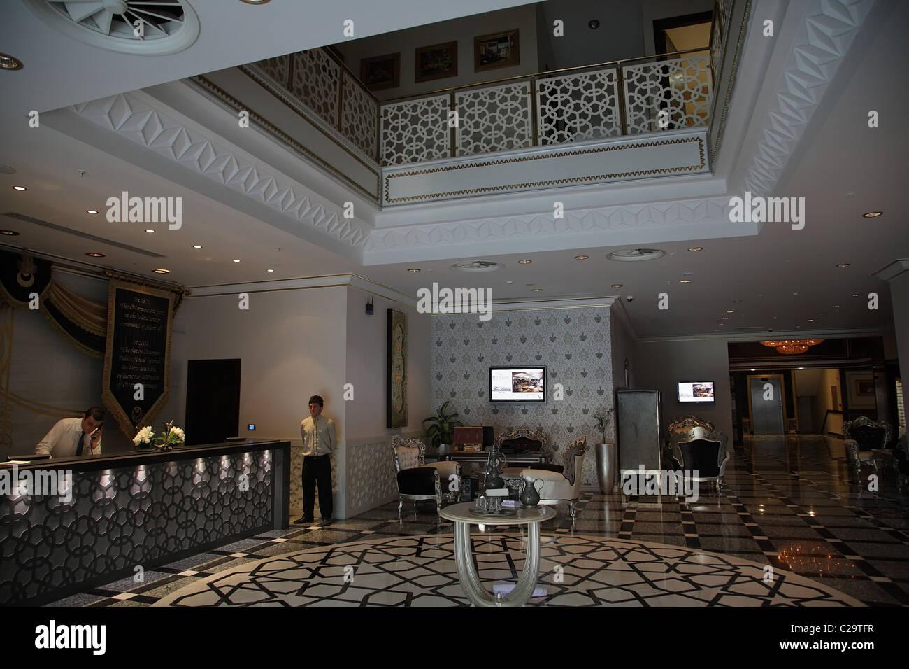 Lobby of the Savoy Ottoman Palace Hotel & Casino, Kyrenia, Turkish Republic of Northern Cyprus - Stock Image