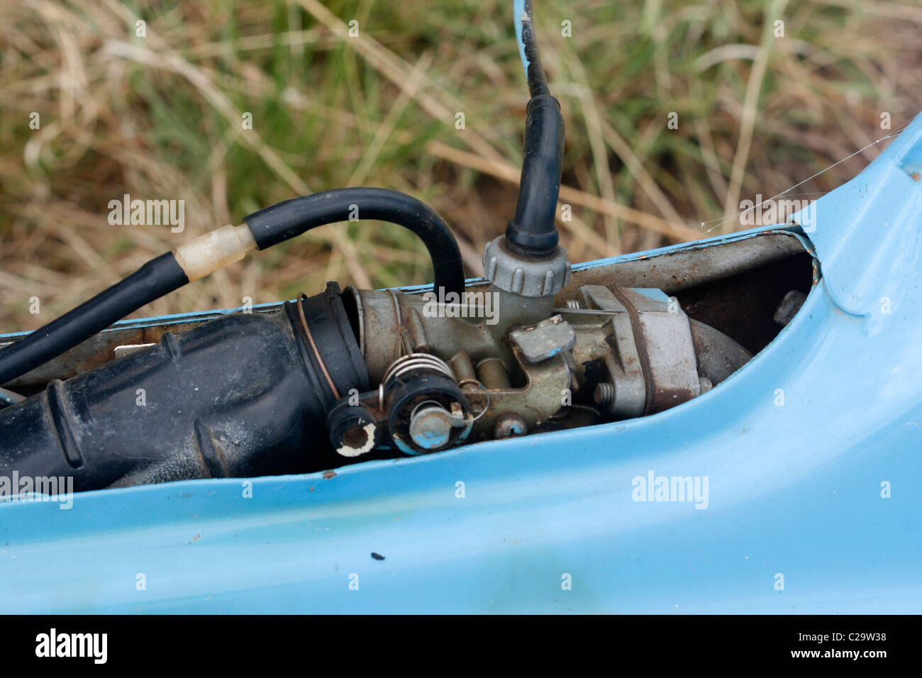 The carburettor on a 50cc Honda Chaly motorbike Stock Photo
