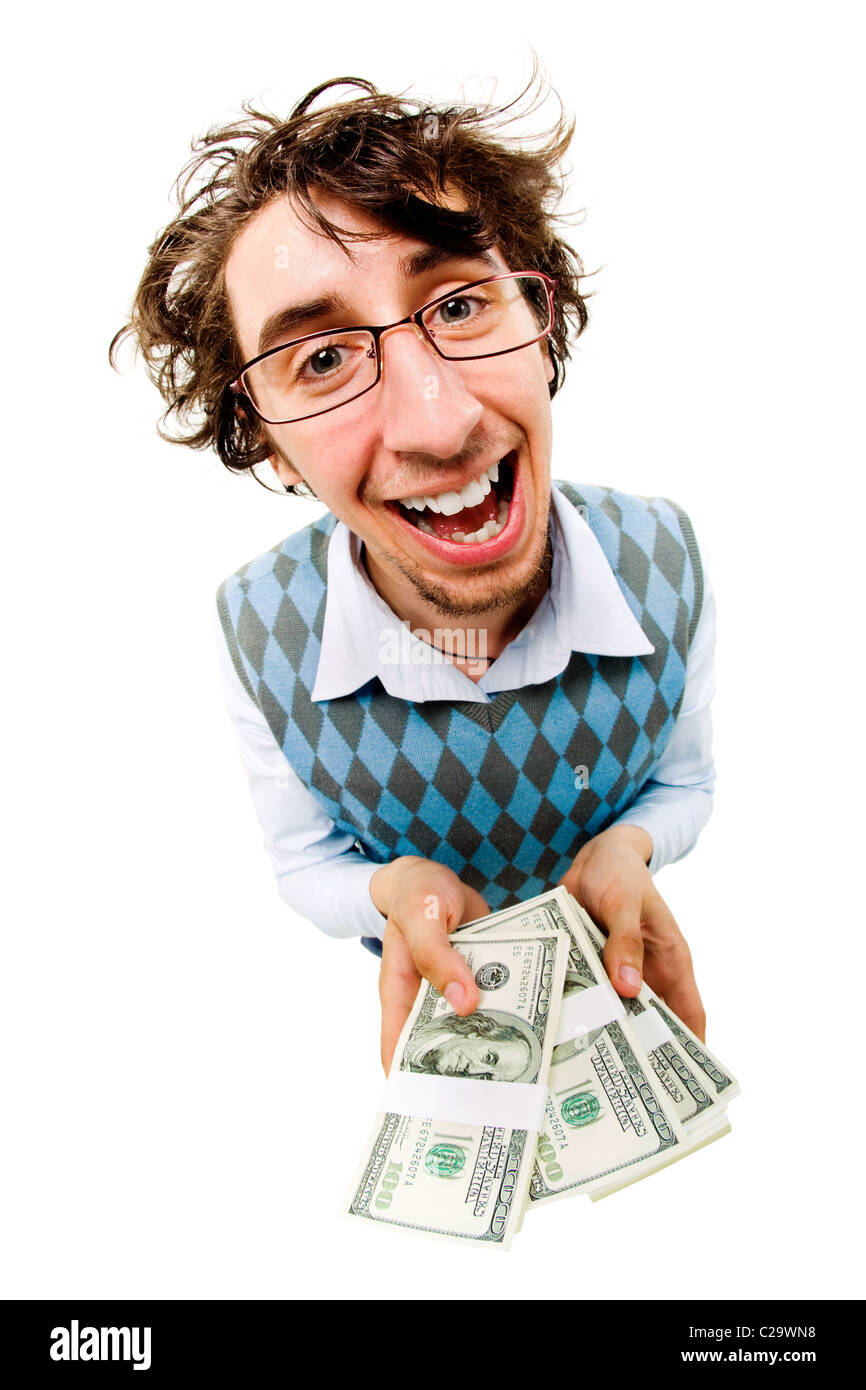 A tousled cheerful man holding dollar batches - Stock Image