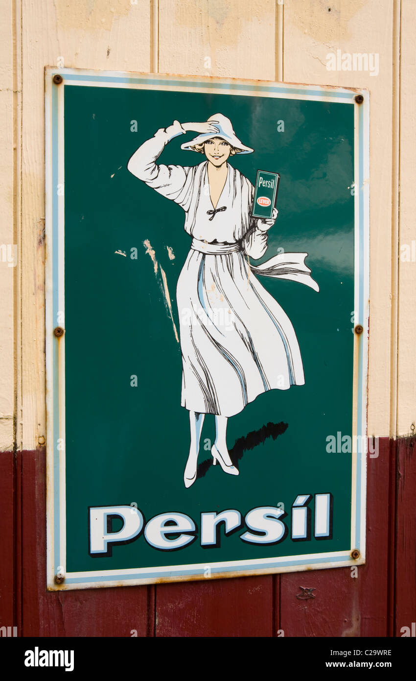 Persil Tin Plated green sign at Ramsbottom Station, Lancashire, UK - Stock Image
