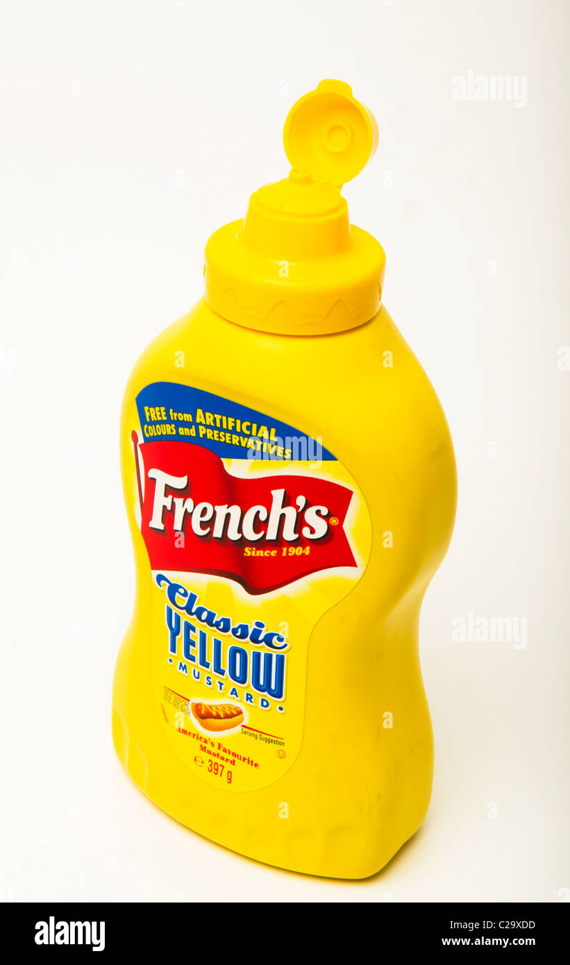 French classic hotdog mustard - Stock Image