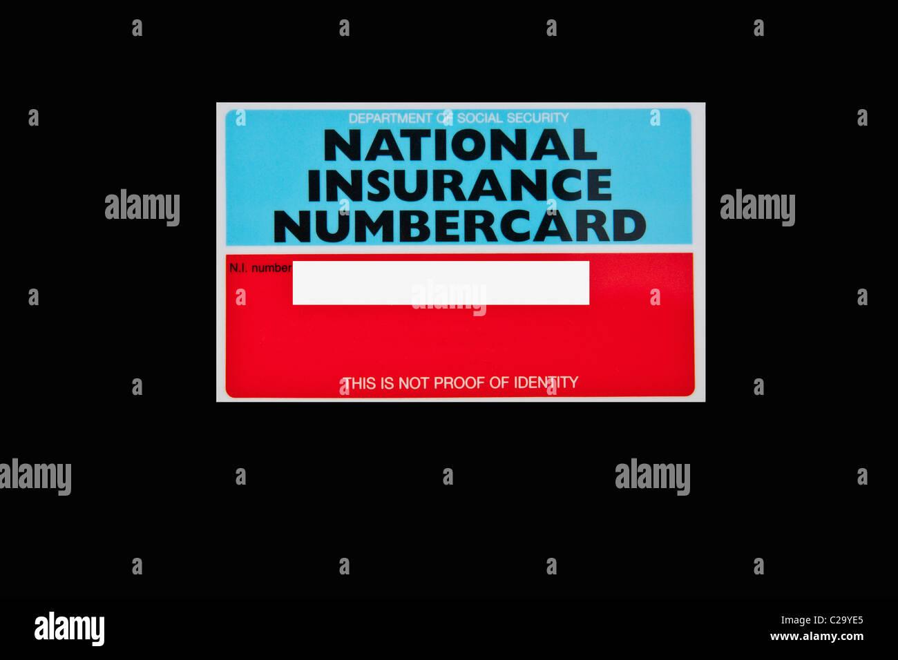 National Insurance Card Stock Photo Alamy