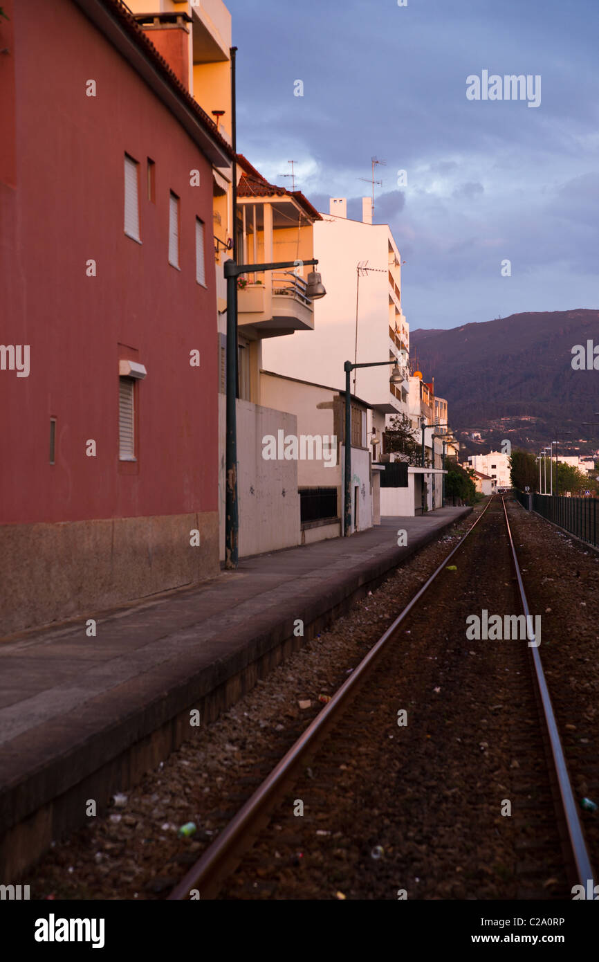 Rails at Vila Praia de Ancora, small town in Portugal - Stock Image
