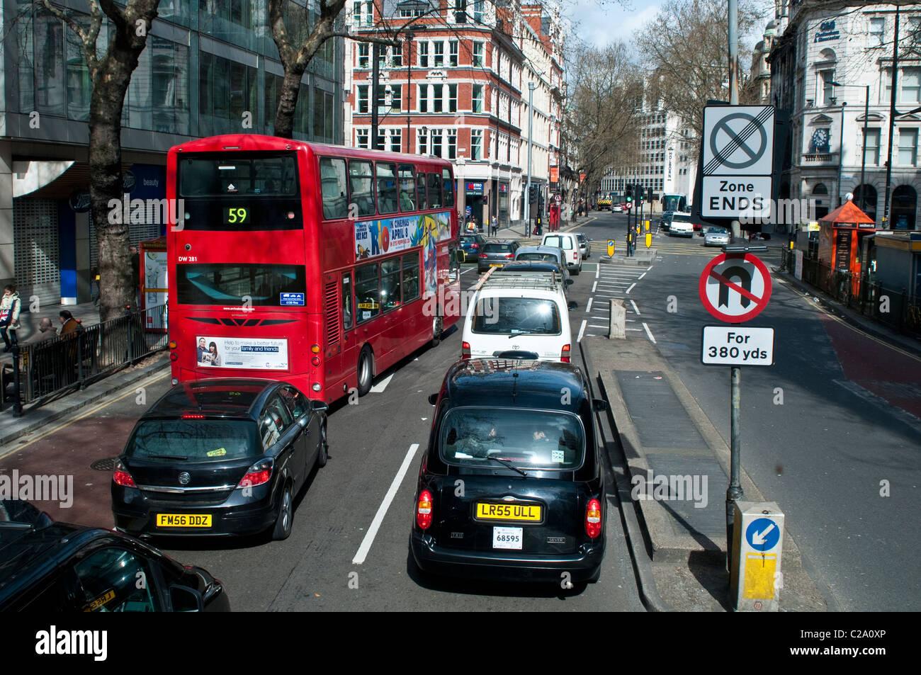 Traffic on Kingsway, Holborn, London, UK - Stock Image
