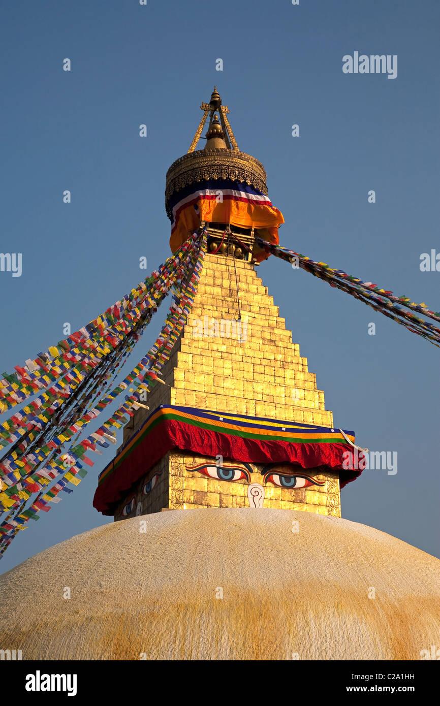 Bodhnath Buddhist temple. Kathmandu, Nepal - Stock Image