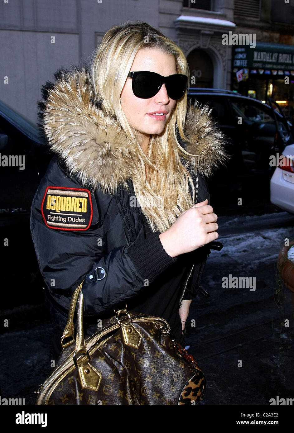 d7155af8ec3a Jessica Simpson sporting a Louis Vuitton handbag, goes to visit her sister  Ashlee in her apartment New York City, USA -