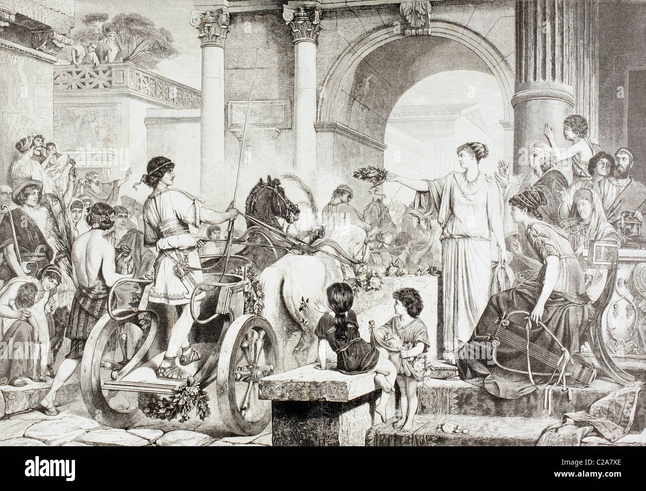Ancient Greek Olympic Games. The winner of the chariot race is saluted and offered the champion's crown. - Stock Image