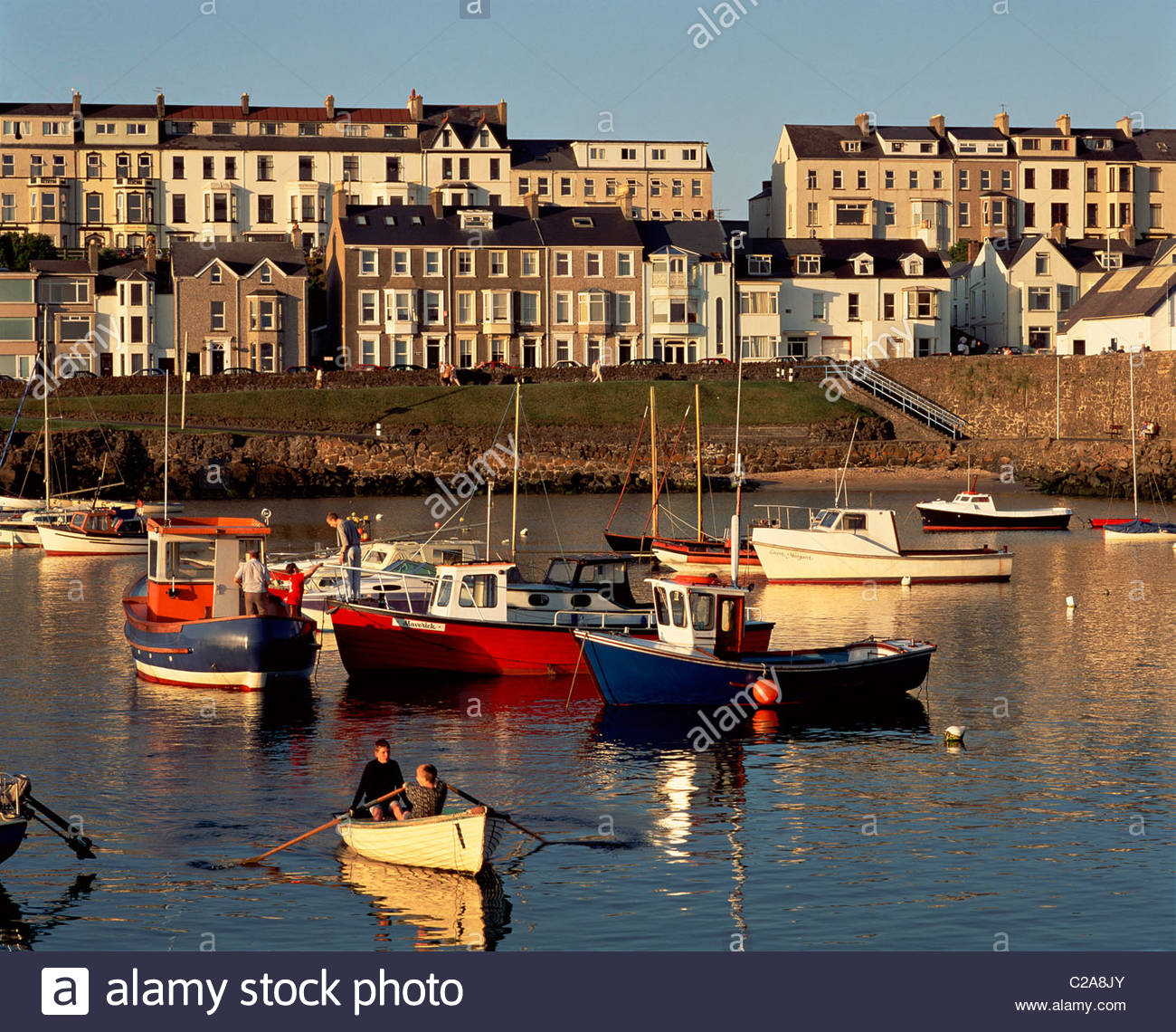 A row boat in Portrush Harbour. Stock Photo