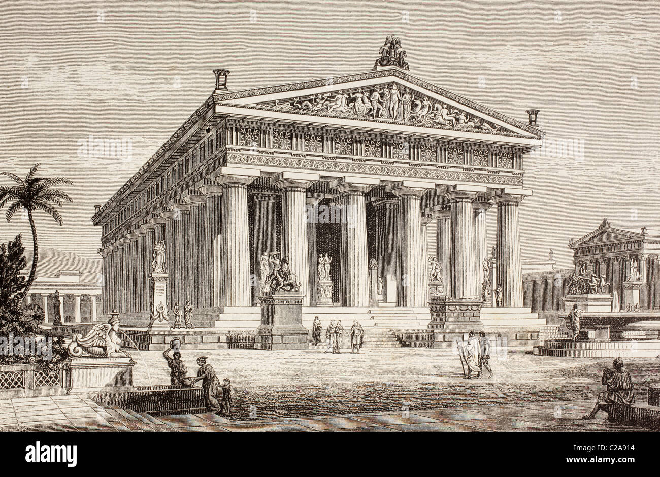 Artist's impression of the Temple of Poseidon, or Neptune, Paestum, Italy. - Stock Image