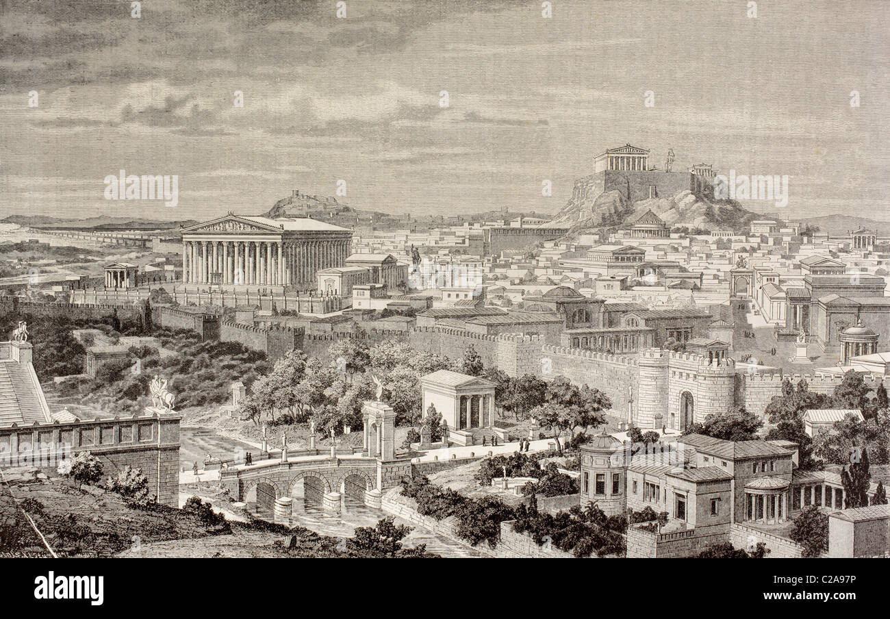 Artist's impression of Athens, Greece at the time of the Emperor Hadrian, 1st and 2nd centuries AD. - Stock Image