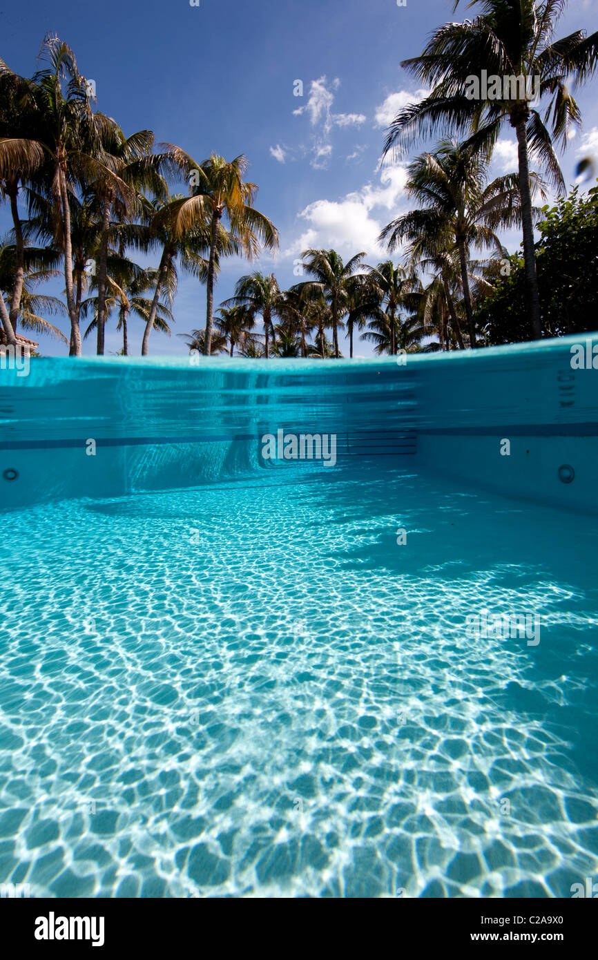 Over/under of crystalline water in swimming pool - Stock Image