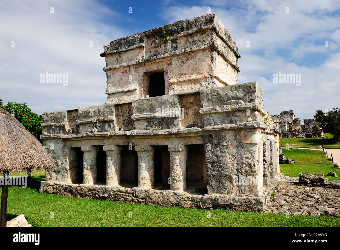 Temple of the Frescoes at Tulum, Quintana Roo, Mexico - Stock Image