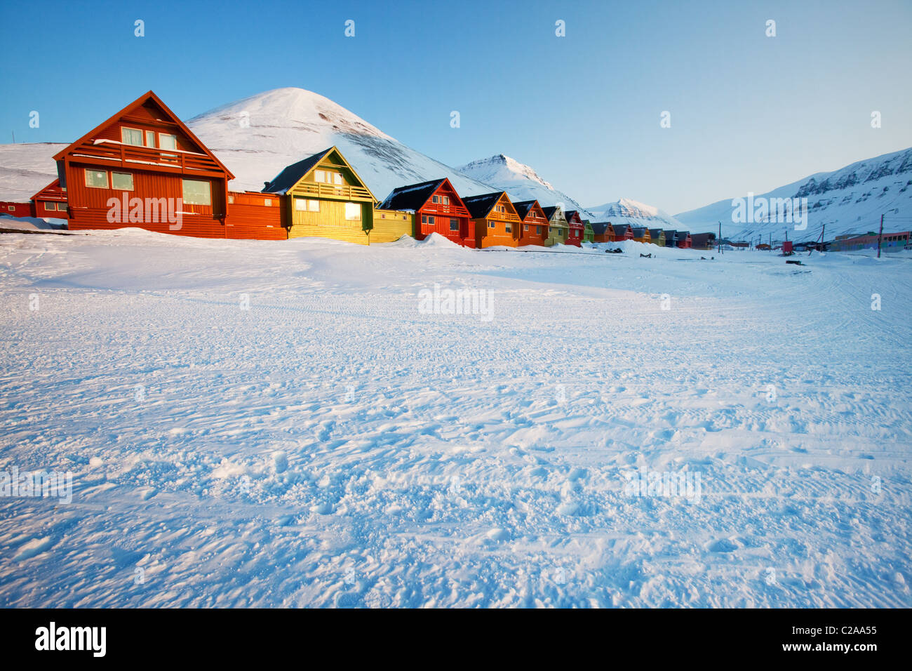 Sunset on Longyearbyen, Norway, the northern most settlement in the world. - Stock Image